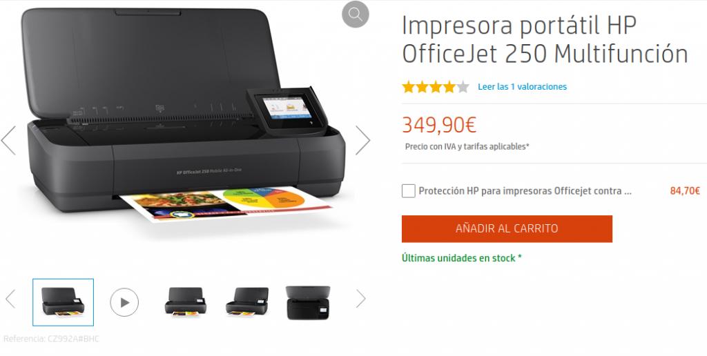 Precio Impresora portátil HP OfficeJet 250 Multifunción