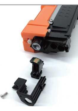 retire los soportes de plastico que sostienen el chip del toner oem 247 negro cyan magenta y amarillo